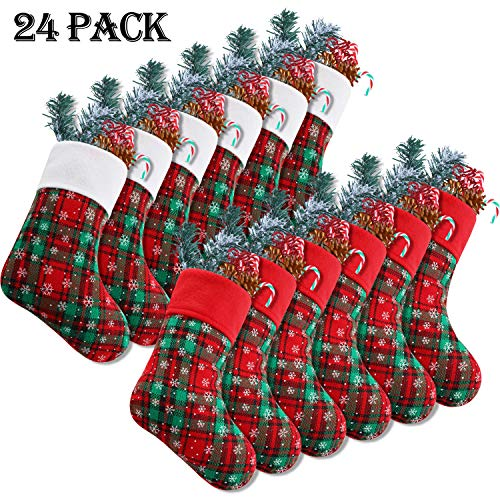 Syhood 9 Inch Christmas Mini Stockings Plaid Snowflake Christmas Stockings Christmas Hanging Stockings for Xmas Party Decorations (24) (In Stockings Christmas Bulk)
