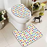 Muyindo Lid Toilet Cover Human Hand Kids Watercolor Paint Effect Open Palms Collage Work Cushion Non-slip