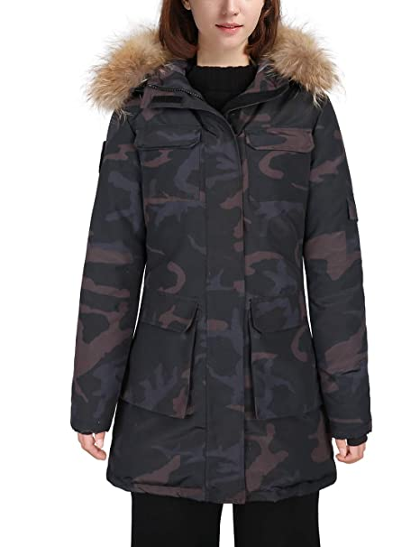 new release 50% price super popular HARD LAND Womens Waterproof Goose Down Parka Winter Coats Mid Length Arctic  Military Jacket with Real Fur Hood