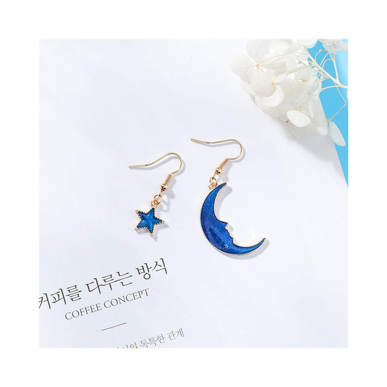 Wecottkerc NEW Creative Blue Universe Asymmetric Earrings For Girl Ear Accessories Cute Moon Star Drop Pendientes Tassel Brincos 5