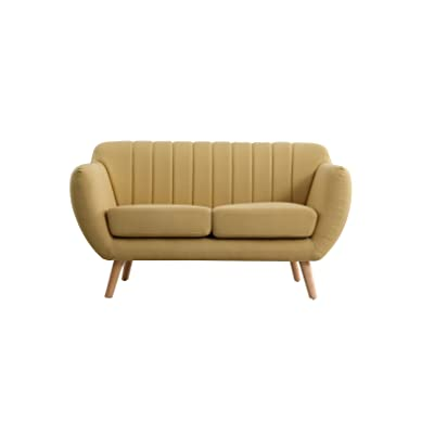 US Pride Furniture S5351-L Eli Fabric Loveseat Living Room, Yellow