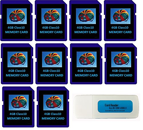 4GB SDHC Class 10 Everything But Stromboli 10-Pack SD Style Flash Memory Card Wholesale Bulk Lot for Digital, Trail, Canon, Nikon DSLR, Game Camera with Everything But Stromboli (tm) Combo Card Reader by Everything But Stromboli