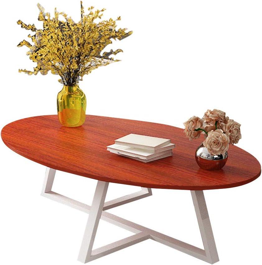 Mesa de Centro Oval Mesa Decorativa de la Sala de Estar de los Muebles rústicos Modernos Tapa de Madera, 100x50cm / 120x60cm: Amazon.es: Hogar