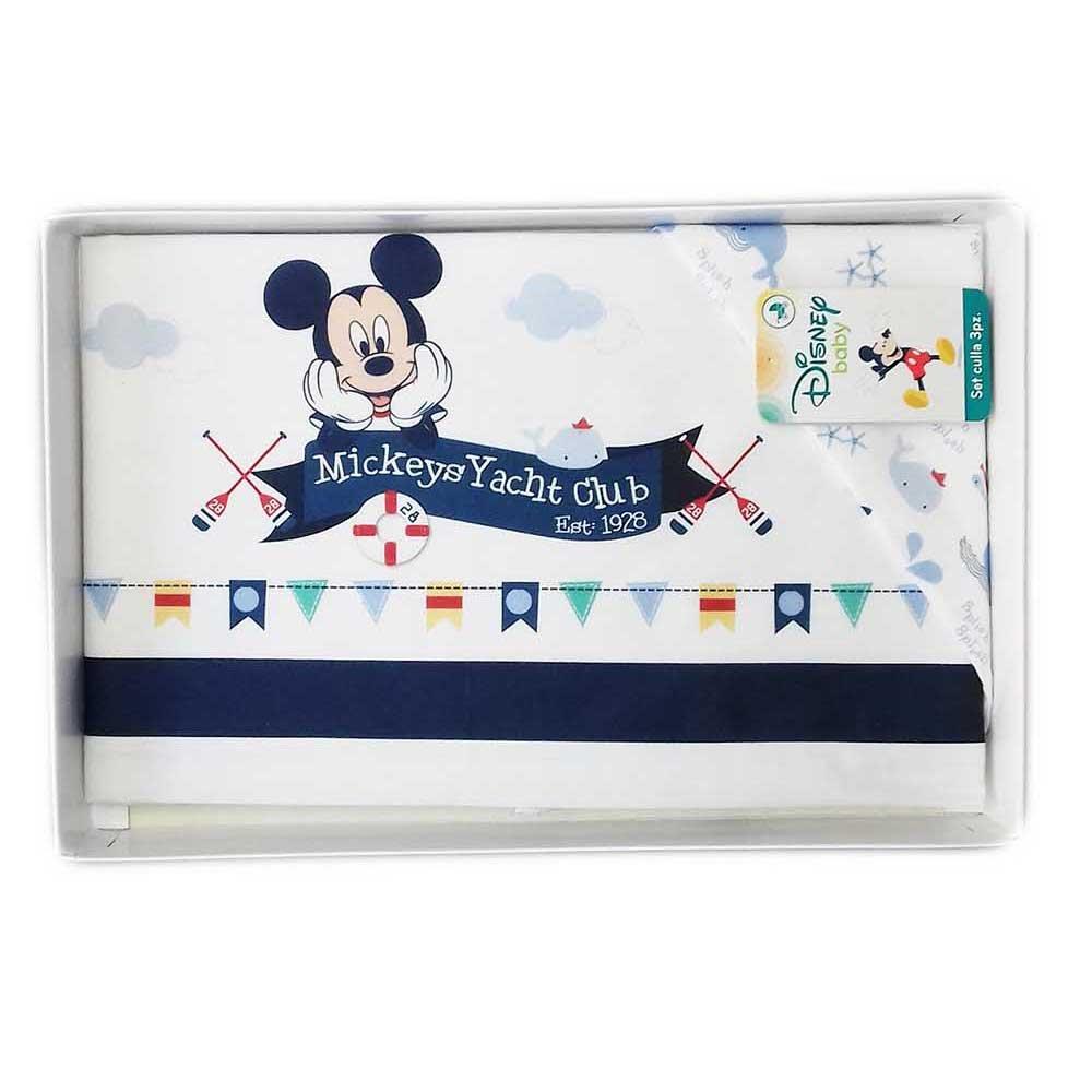Completo 3pz culla carrozzina bimbo Mickey Disney baby bianco blu girotondo
