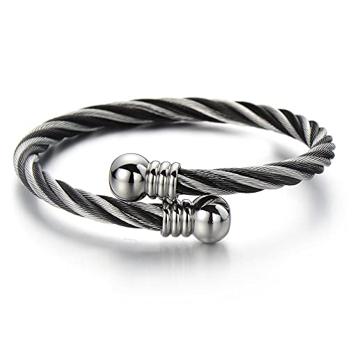 Elastic Adjustable Stainless Steel Ball Cuff Bangle Bracelet for Men Women Polished O6mJCZi