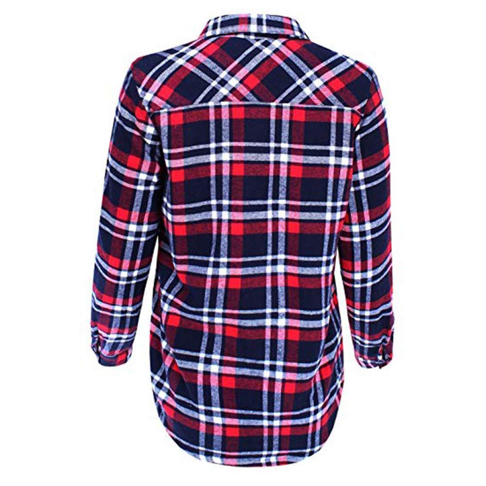 LISTHA Plaid Button Shirt Coat Womens Fluffy Pullover Tops Warm Blouse Jacket