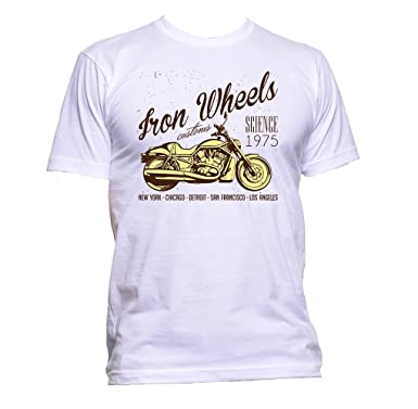 6e9298200 AppleWormDesign Men's Iron Wheels Motorcycle Slogan T-Shirt: Amazon ...