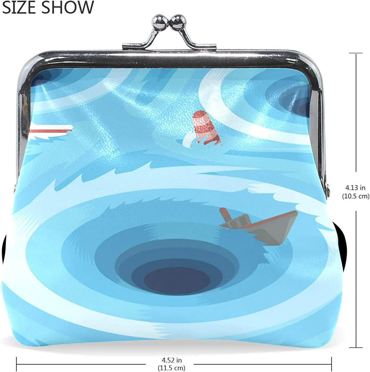 Womens Leather Kiss Lock Double-Sided Smell Of The Sea Coin Purse Wallets