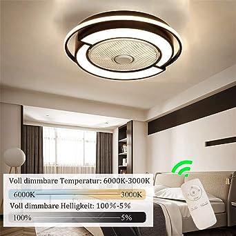 58CM Ronda Ventilador de Techo con Lámpara, 45W Moderno Luz LED ...