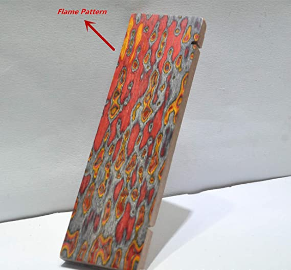 Aibote 1 Pair 3D Color Flame Pattern Knife Handle Scales Wood Handles