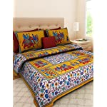 Suraaj Fashion 100% Cotton Printed King Size Double Bedsheets with 2 Pillow Covers – (Yellow_King)