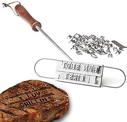 Parrilla Sello para Sello BBQ BRAN cali/éntalos cali/éntalos BBQ BRAN Ding 43.5 cm Dewanxin Herramientas para Parrilla de Barbacoa DIY con Sello de Hierro