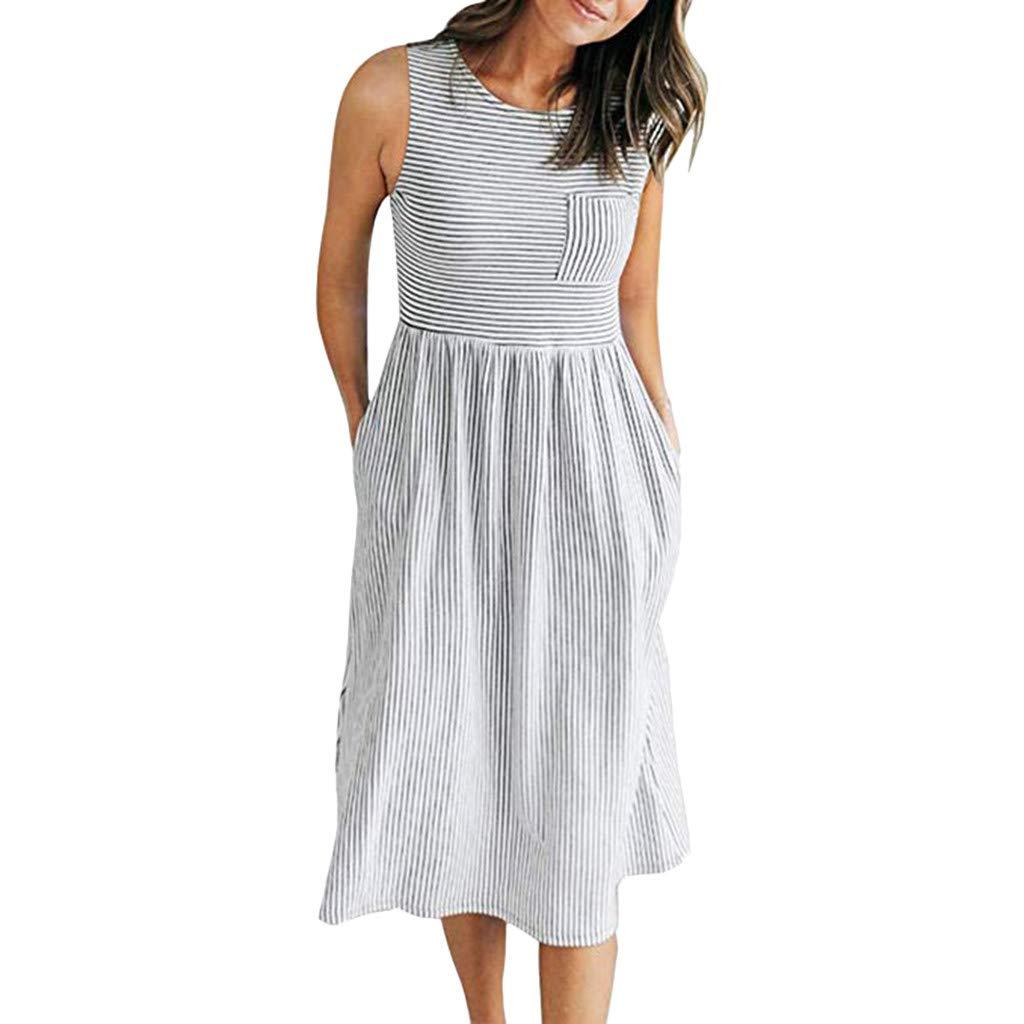 Cianjue Women's Dress-Summer Short Sleeveless Round Collar Stripe Evening Party Beach Dresses White