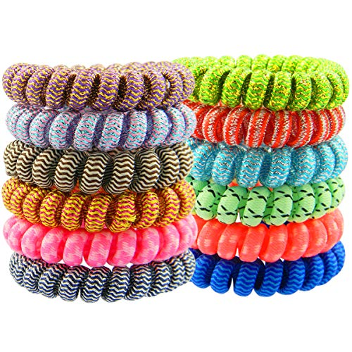 QY 12PCS New Version Bright Colorful Wave Pattern Cloth Plastic Spiral Coil Wrist Band Key Ring -