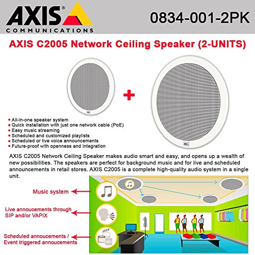 AXIS C2005 Network Ceiling Speaker connected w/ a single cable PoE (2-UNITS) by Axis Communications