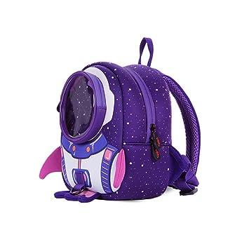 3-6 años de edad Kindergarten Mochila escolar anti-perdida Niños Niños y niñas Rocket Mochila. purple: Amazon.es: Deportes y aire libre