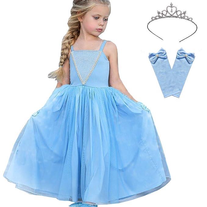 Amazon.com: Disfraz de Cenicienta para niñas con tiara y ...