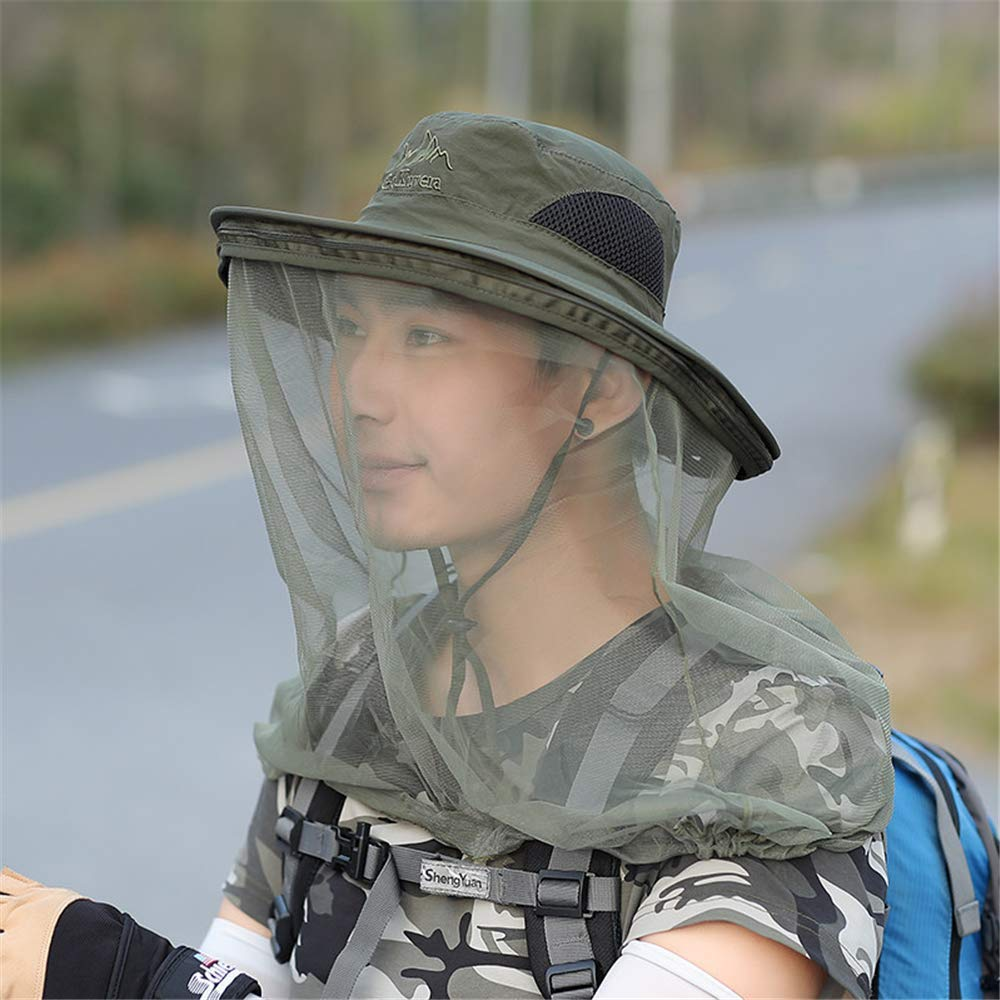 ArmyGreen Mosquito Head Net Hat,Mosquito Repellent Head Net,Predection from Insect Bug Bee Gnats Bucket Boonie Hat Cap Outdoor Men,ArmyGreen