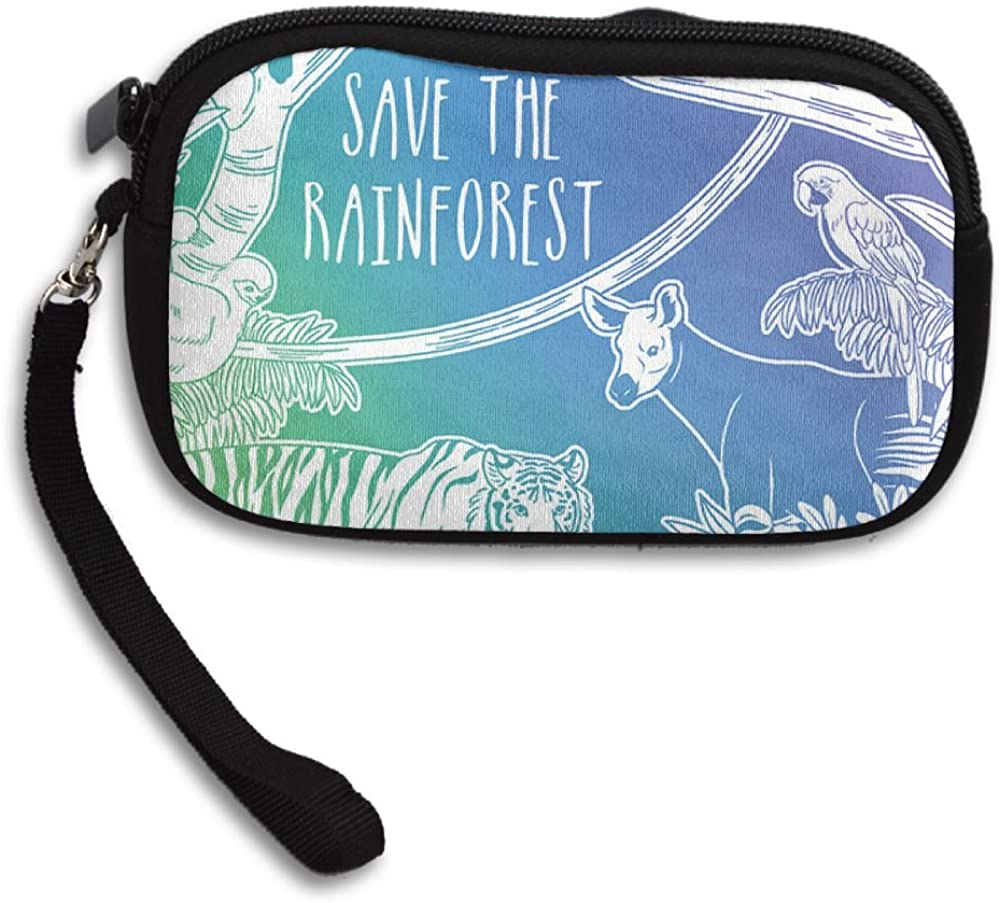 Save Rain Forest Deluxe Printing Small Purse Portable Receiving Bag