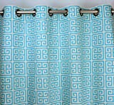 Cheap Mandarin Blue and Natural Beige Modern Greek Key Geometric Print Drape with Cotton Lining, One Grommet Top Curtain Panel 96 inches long x 50 inches wide