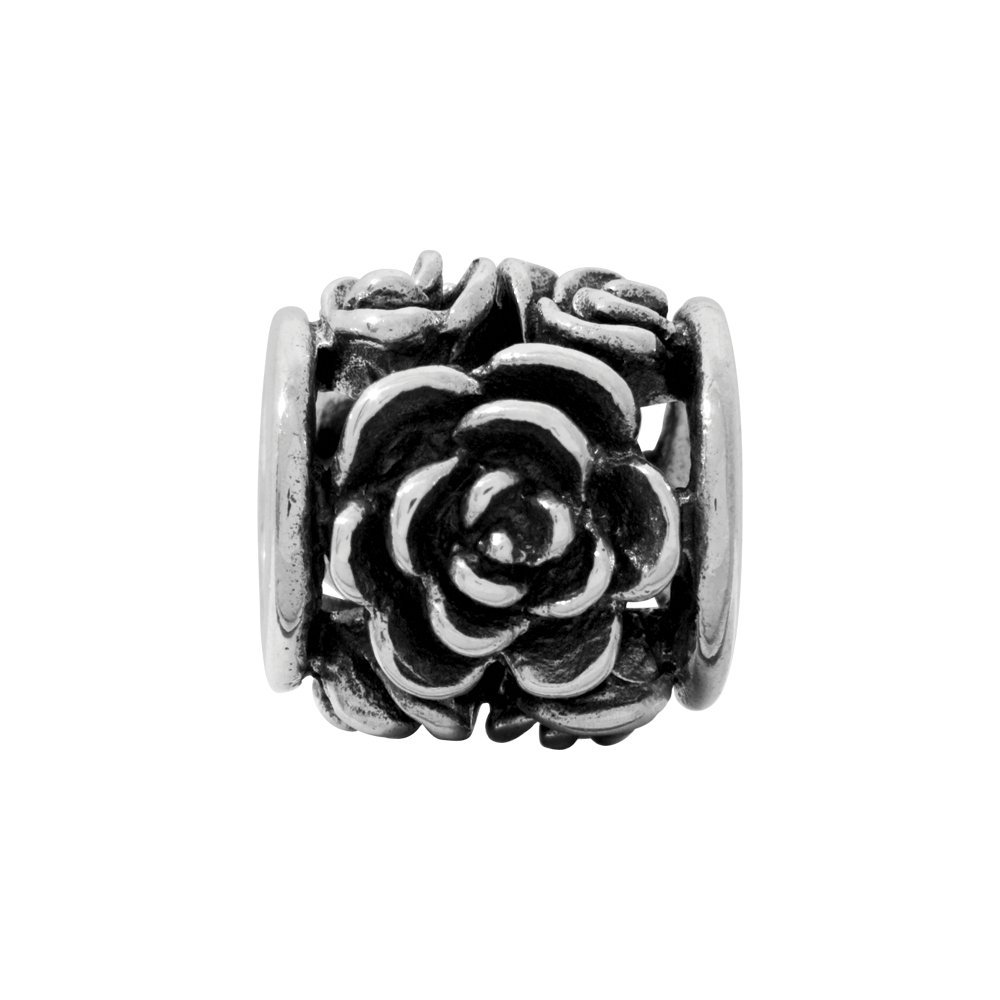 Solid 925 Sterling Silver Reflections Rose Bali Bead 8.2mm x 8.2mm