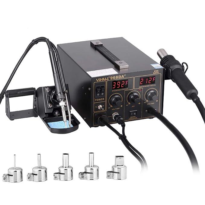 Estacion de soldadura 3 en 1 electronica Kit del Soldador Digital con Pistola de Aire Caliente 968D A+: Amazon.es: Bricolaje y herramientas