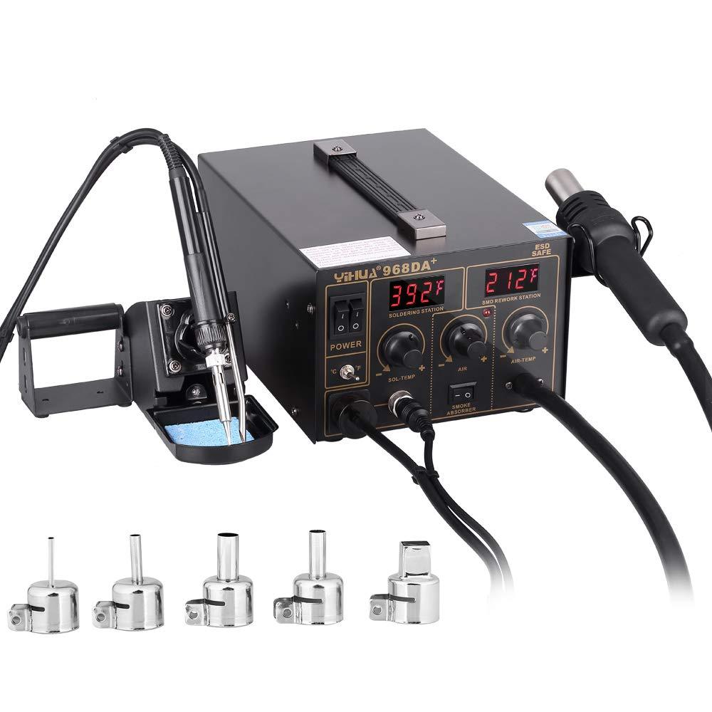 Estacion de soldadura 3 en 1 electronica Kit del Soldador Digital con Pistola de Aire Caliente