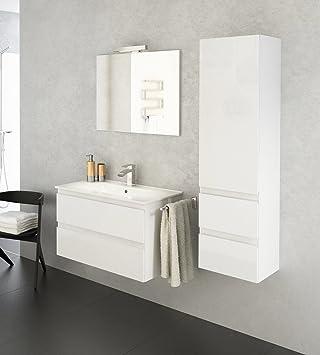 Como Badmöbel-Set/Komplettbad 4-teilig in Weiß hochglanz, mit ...