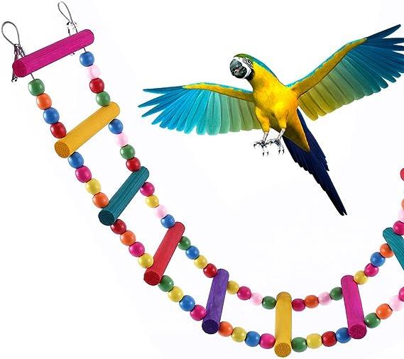 ZhongYeYuanDianZiKeJi Juguete de Pajaros Ave Escalera Columpio de Pájaros Madera Natural de Juguete para periquitos, Ninfas, Loros: Amazon.es: Productos para mascotas