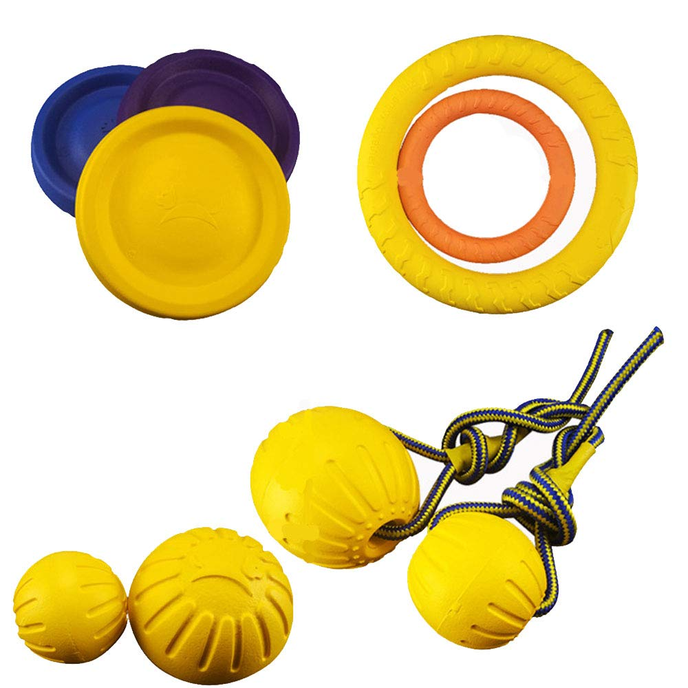 OTENGD 11PCS The Most Affordable Dog Toy Set Including Balls Frisbees and Pull Rings Non-Toxic Chew Toy Durable Nearly Indestructible Guaranteed Tough