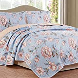 NTBAY 3 piece Reversible Floral Printed Quilt Set(Queen,Light blue)