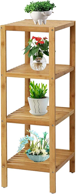 Amazon Com Bamboo Shelf Bathroom Shelf Organizer Flower Plant Stand Corner Bamboo Shelf For Living Room Bathroom Kitchen Kitchen Dining
