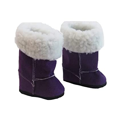 "Purple Fur Boots Fits 18/"" American Girl Doll Clothes Shoes"