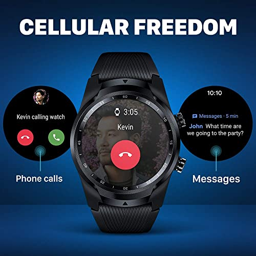 Ticwatch Pro 4G LTE Cellular Smartwatch, Dual Display, Sleep Tracking, Swim-Ready, Long Battery Life, 1GB RAM Memory GPS, 24h Heart Rate Monitor for Verizon Phone Plan Users Only in US