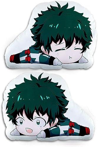 Bowinr My Hero Academia Throw Pillow, Super Kawaii MHA Plush Toy with Double-Sided Pattern for Home Sofa Decor 45x32cm Midoriya Izuku
