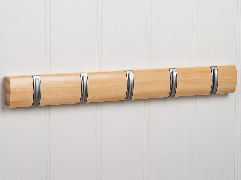 salvaspazio Large in Legno di Pino Naturale incredibilmente Robusto ed Elegante 46,5 x 3 x 5 cm OCCO M900691 Appendiabiti da Parete sospeso con 5 Ganci retrattili durevoli