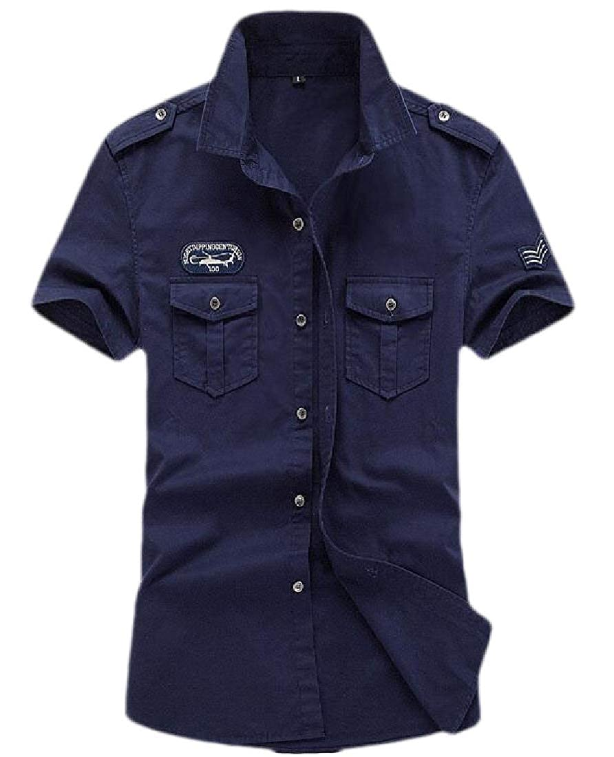 Men Work Shirt Short Sleeve Military Button Down Slim Fit Cargo Shirts