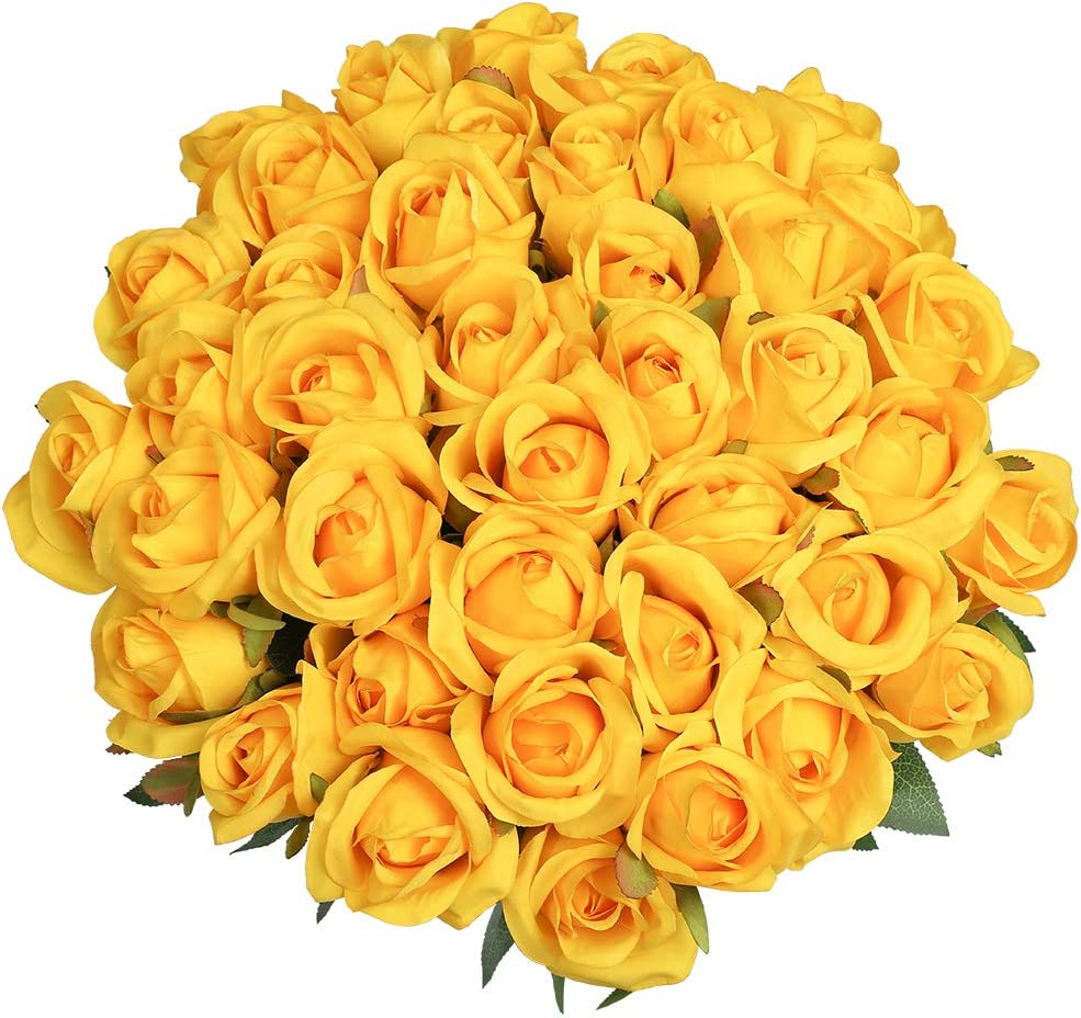 Veryhome Artificial Flowers Silk Roses Real Touch Bridal Wedding Bouquet for Home Garden Party Floral Decor 10 Pcs (Yellow-1)