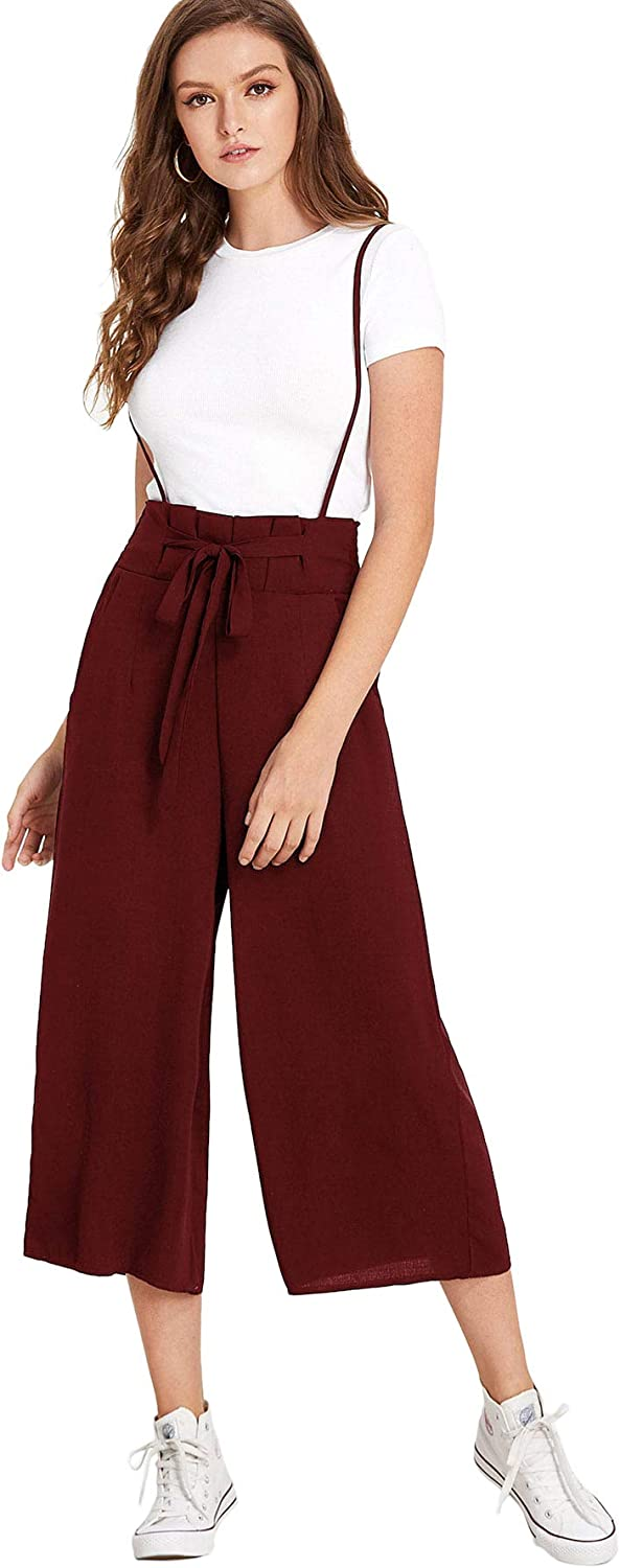 Milumia Women Knot Front Pocket Side Solid Chiffon Pinafore Pants Overalls