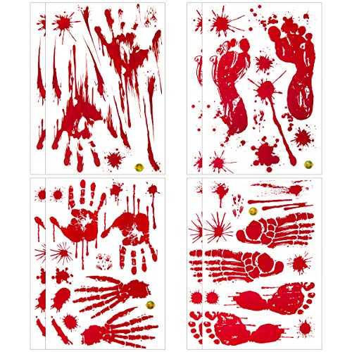 Apipi 8 Pcs Halloween Bloody Wall Stickers Decor- Horror Scary Bloodstain Handprint - Bathroom Mirrors Clings