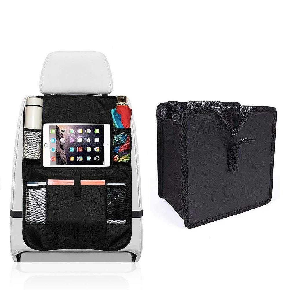 CVELEQI Car Back Seat Organiser, Back Seat Car 0rganiser Kick Mats Protectors Cover with 10.1\' iPad Tablet Touch Screen Holder Multi Pockets for Kids Toys Bottles (2 Packs)
