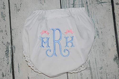 Diaper Cover Baby Shower Gift Baby Girl Eyelet Bloomers Monogrammed Fishtail Bloomers