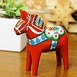 ダーラナホース ダーラヘスト 置物 レッド Grannas グラナス A オルソン ヘムスロイド社 北欧スウェーデン製 木彫りの馬 メーカーパンフレットと日本語のオリジナル説明書付き (S 高さ:10cm)