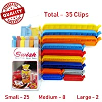 Swish 35 Clips, 3 Different Sizes, Plastic Multipurpose Airtight Seal Clips for Food Bags/Snack Bags to Keep Bag Content Fresh and Intact (Multi Color)