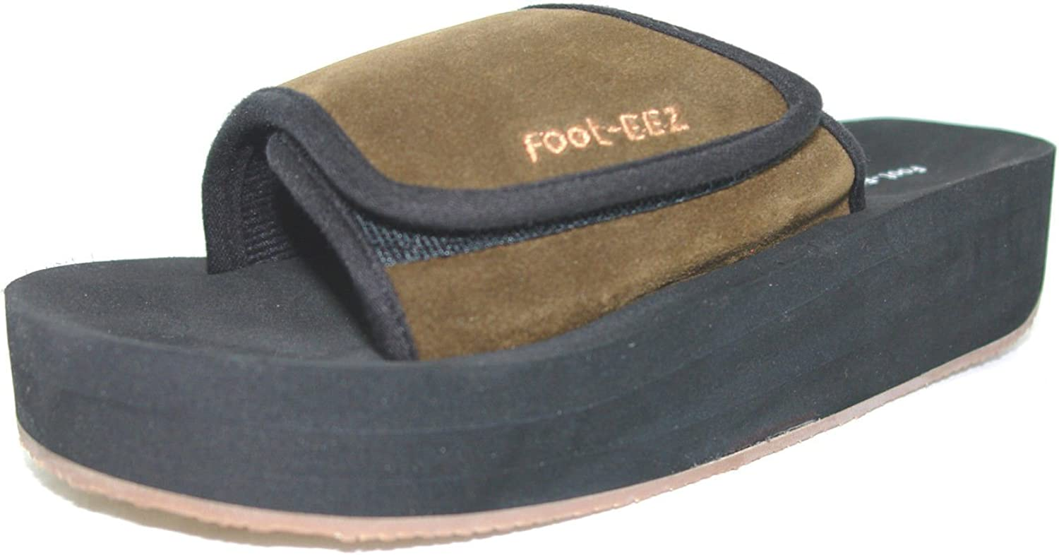 Mens and Womens Sizes Foot-EEZ Brown /& Black Unisex Diabetic /& Pain-Relief Single Strap Adjustable Sandals