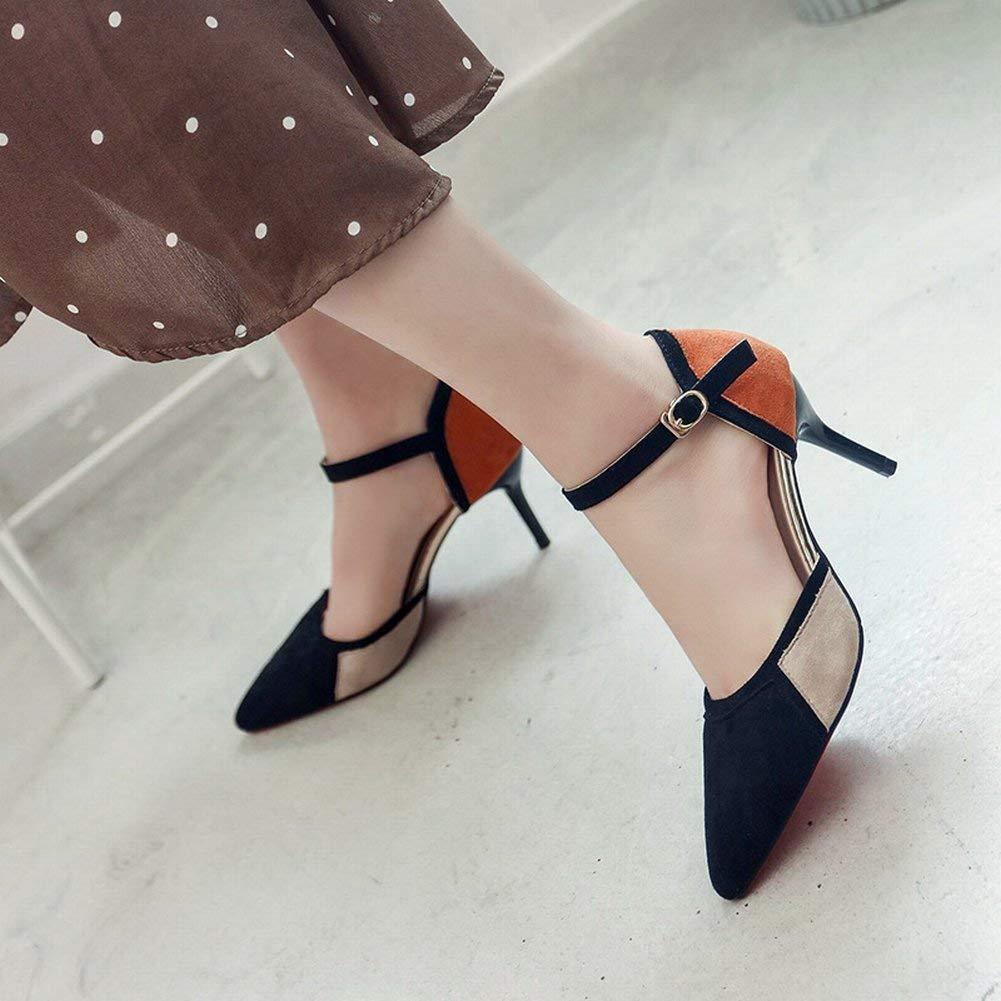 Oudan Single Schuhe Stöckelschuhe Stöckelschuhe Stöckelschuhe Damen Mischfarbe Heels Spitze Flacher Mund Knöchelriemen Knöpfe Cool (Farbe   Polieren Größe   36) 13bd18