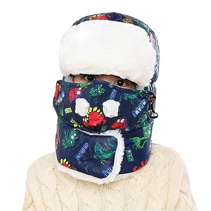 qchomee Unisex orejeras niño Niña niño 5 – 15 años, sombrero cazador en piel artificial Invierno Térmico Gorro ruso esquí snowboard Cache oído ...