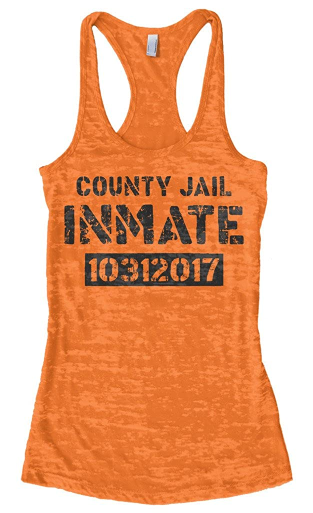 Amazon.com  Threadrock Women s County Jail Inmate Halloween Burnout  Racerback Tank Top  Clothing