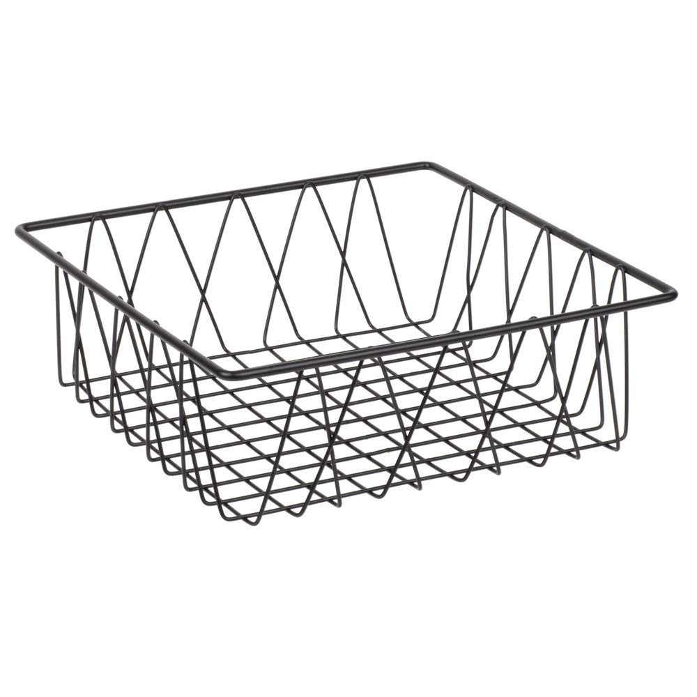 G.E.T. Enterprises WB-105B 12'' Black Square Wire Basket, 4'' Deep, Iron Powder Coated