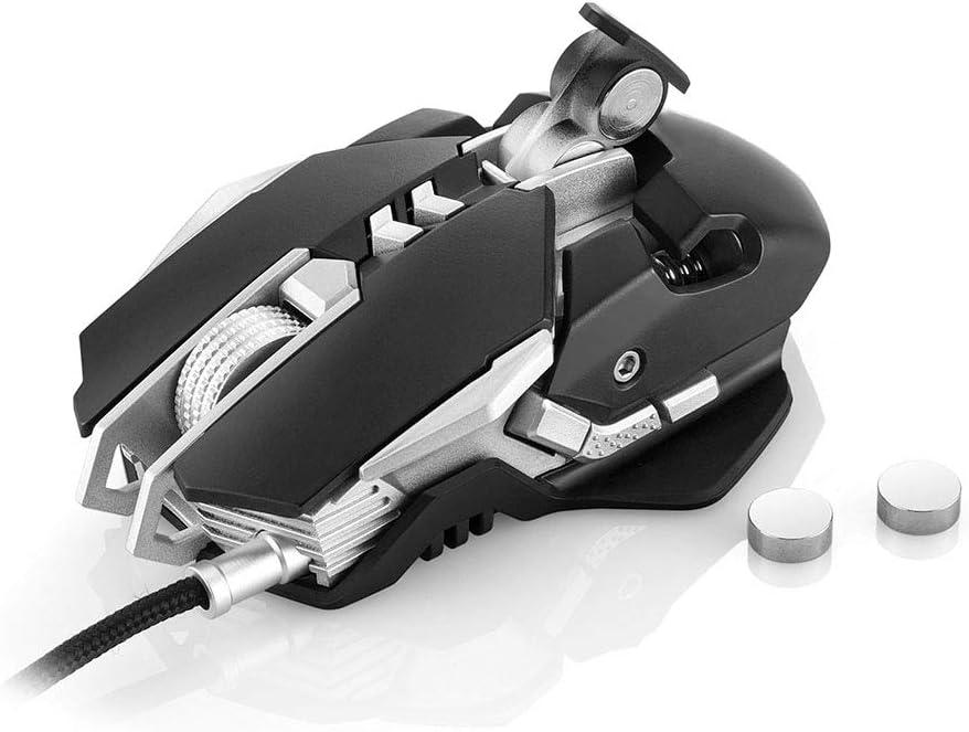 WAIY Souris Gaming Filaire 7 Boutons 3200DPI 1000Hz taux de Retour 4 lumières LED respiratoires Couleur, avec contrepoids, Souris Gaming Robuste et étanche-Black black